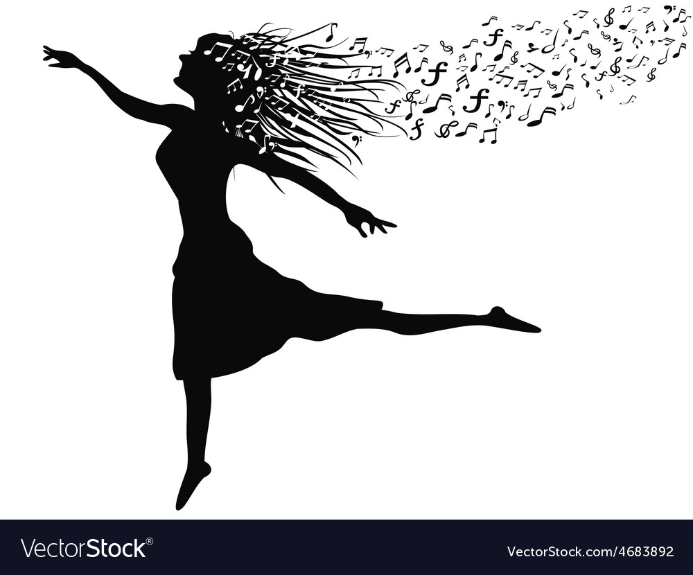 Woman dancing with music note vector | Price: 1 Credit (USD $1)