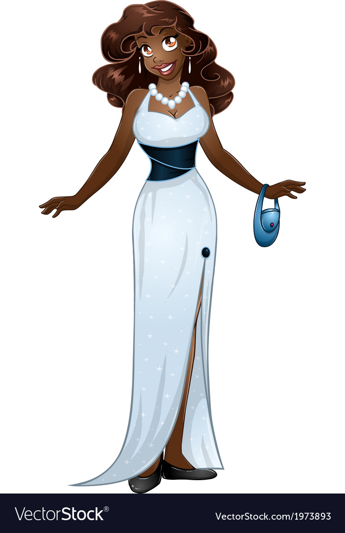 African woman in white evening dress vector | Price: 1 Credit (USD $1)