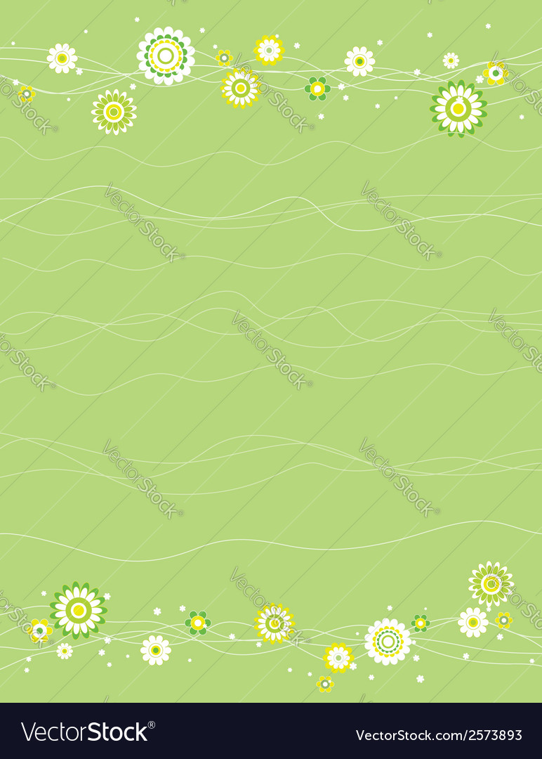 Background with white and green flowers vector | Price: 1 Credit (USD $1)