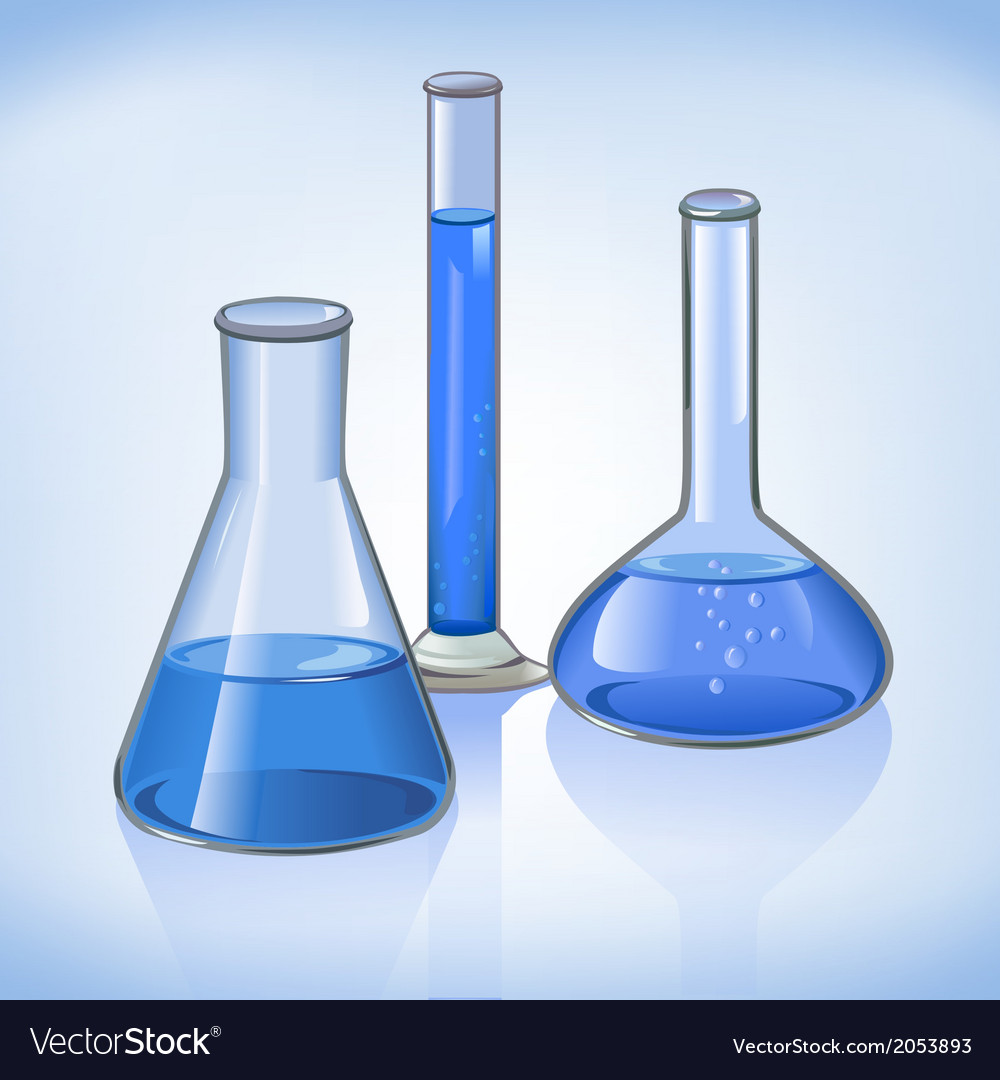 Blue laboratory flasks glassware symbol vector | Price: 1 Credit (USD $1)