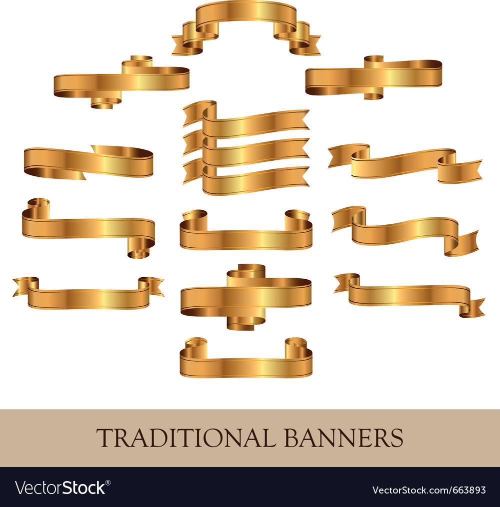 Gold ribbon banners vector | Price: 1 Credit (USD $1)
