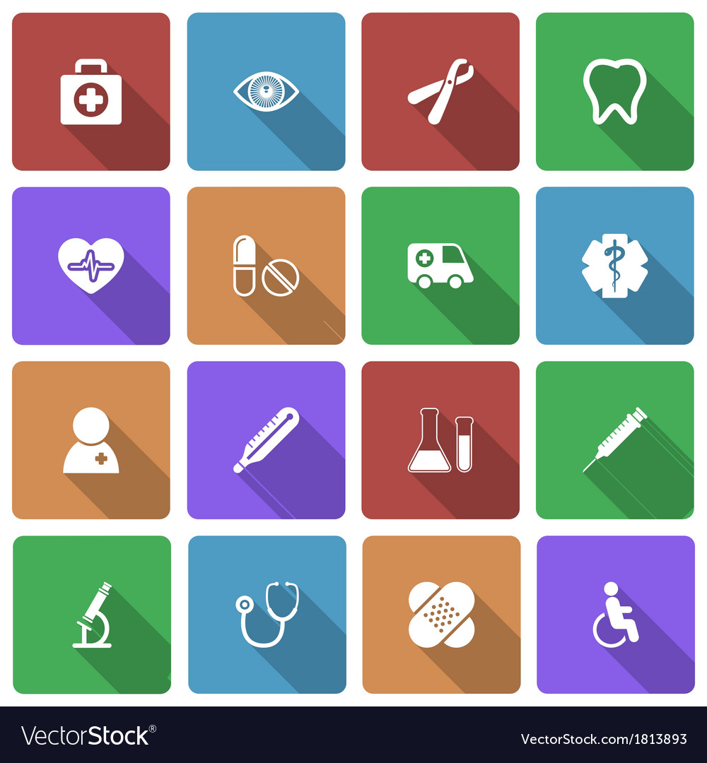 Medical icons set with long shadow vector | Price: 1 Credit (USD $1)