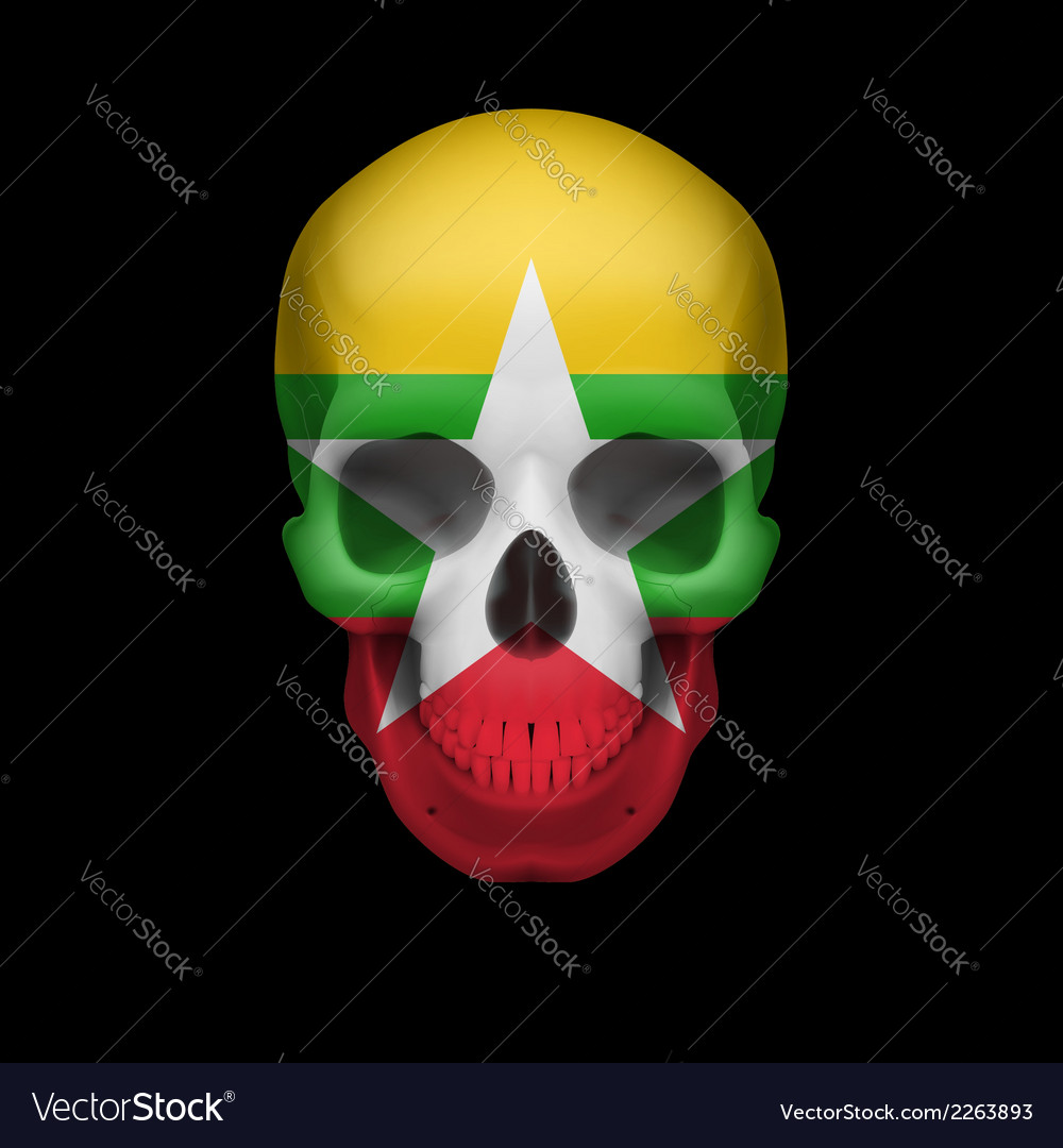 Myanmar flag skull vector | Price: 1 Credit (USD $1)