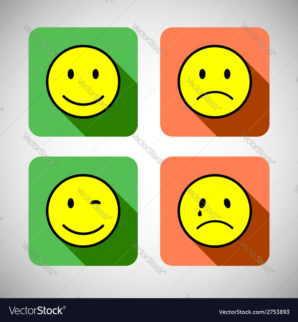 Set of basic emotions in flat icon design vector | Price: 1 Credit (USD $1)