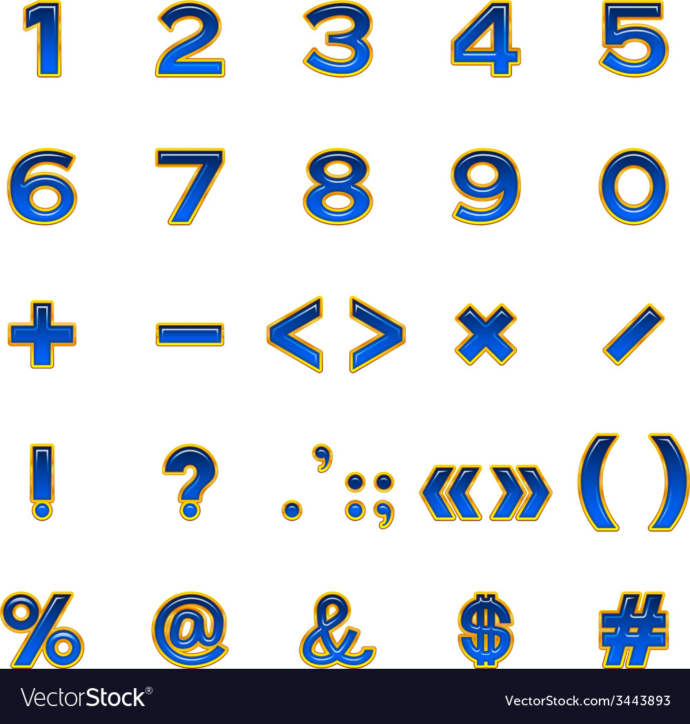 Set of numbers and signs buttons vector | Price: 1 Credit (USD $1)