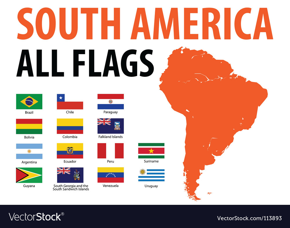 South america all flags vector | Price: 1 Credit (USD $1)