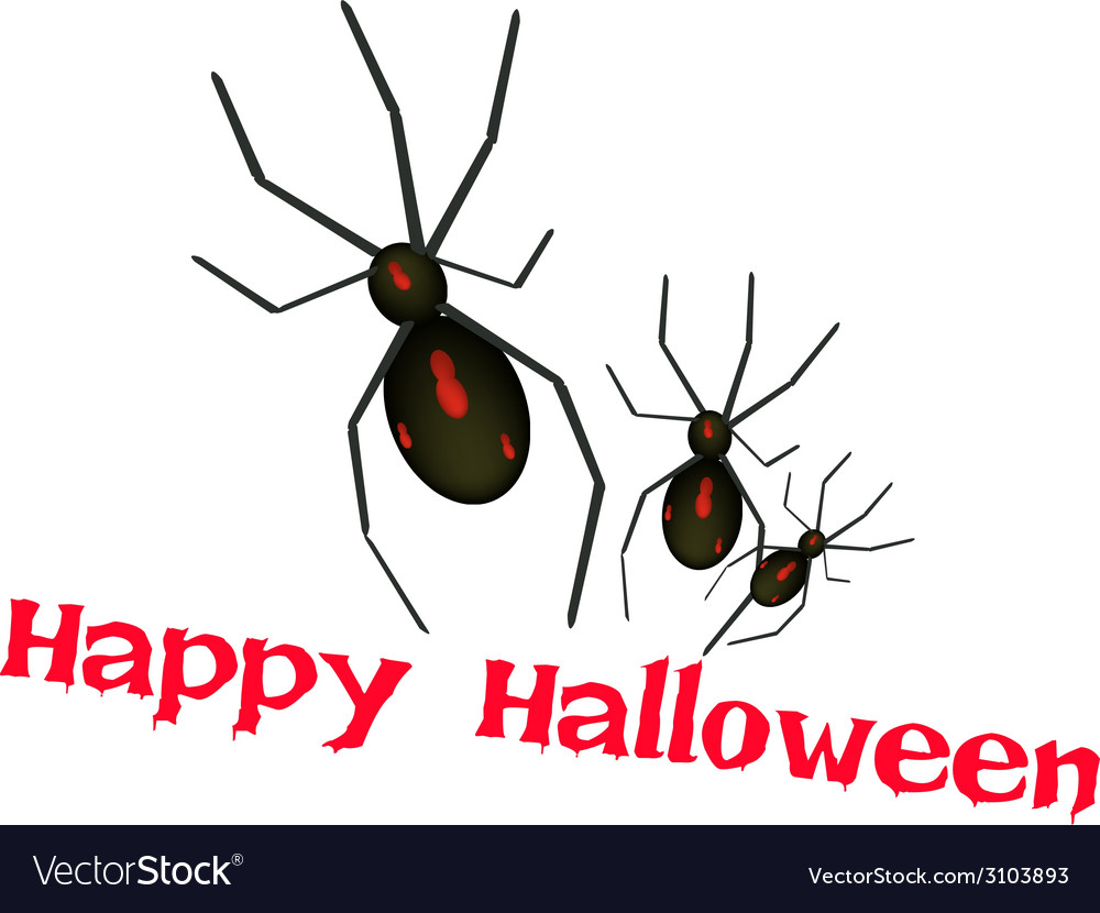 Three evil spiders with word happy halloween vector | Price: 1 Credit (USD $1)