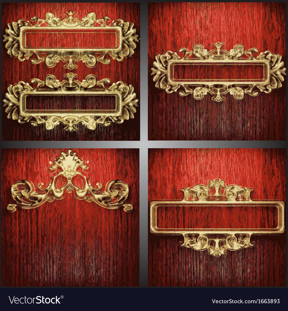 Wood and gold background set vector   Price: 1 Credit (USD $1)