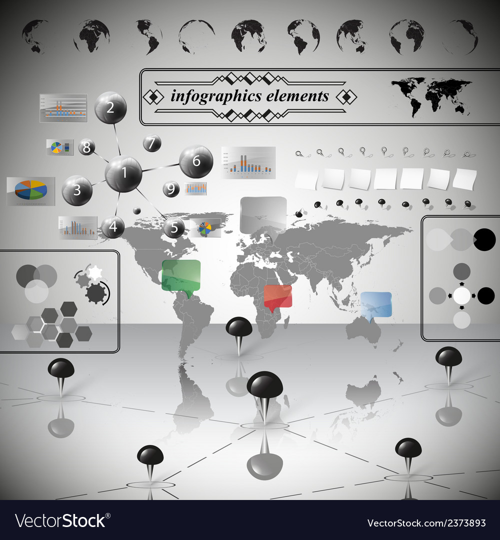 World map differenticons and information graphics vector | Price: 1 Credit (USD $1)