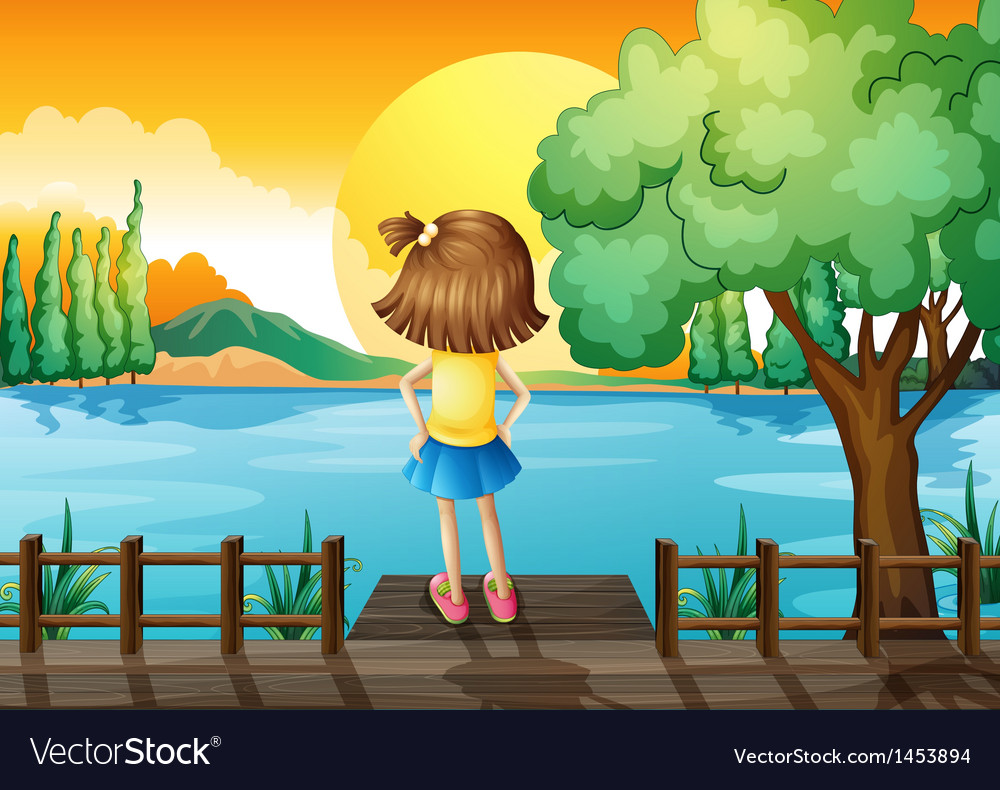 A girl standing facing at the river vector | Price: 1 Credit (USD $1)