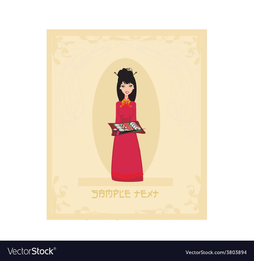 Beautiful asian girl enjoy sushi card vector | Price: 1 Credit (USD $1)
