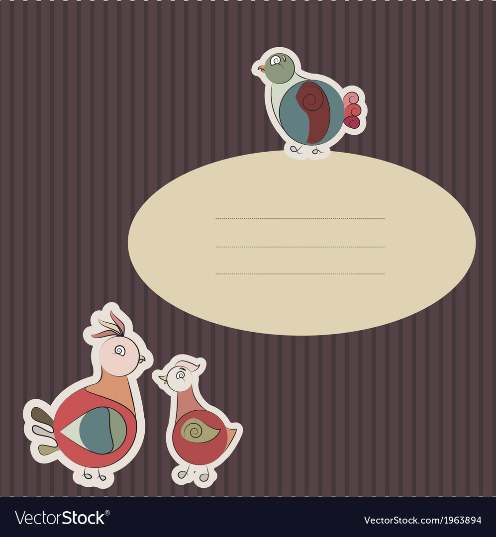 Card with turkey bird and pigeon vector | Price: 1 Credit (USD $1)