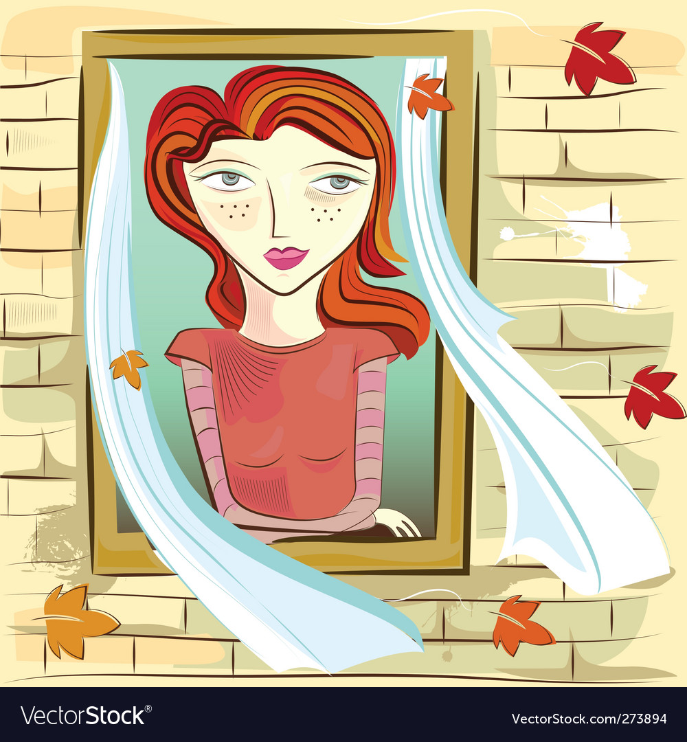 Girl and window vector | Price: 3 Credit (USD $3)