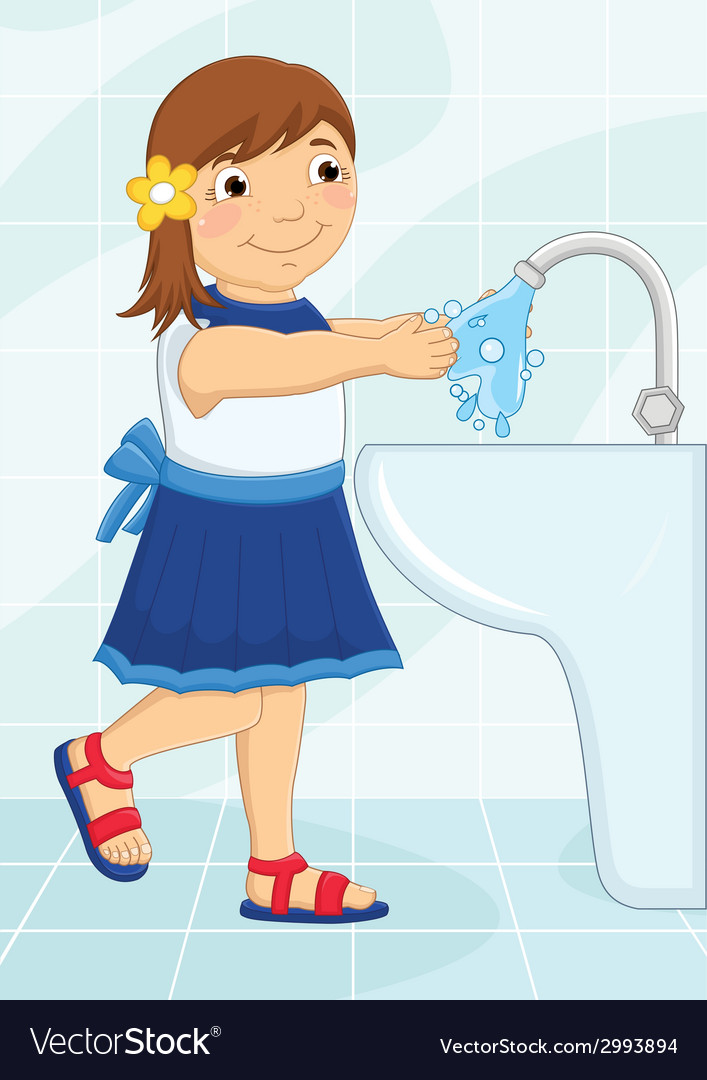 Girl washing hands vector | Price: 1 Credit (USD $1)