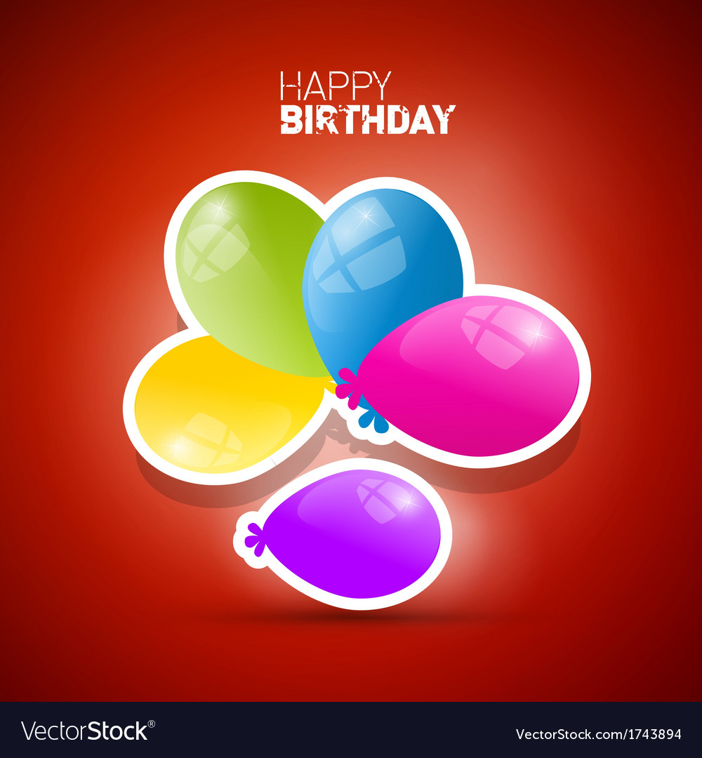 Happy birthday theme colorful air balls on red vector | Price: 1 Credit (USD $1)