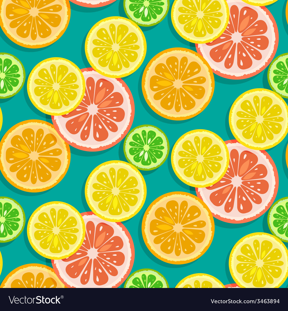 Seamless citrus fruits background vector | Price: 1 Credit (USD $1)