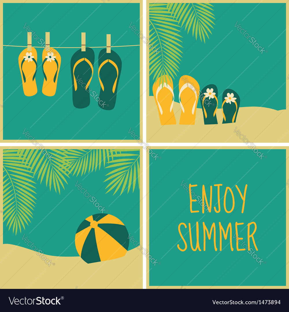 Summer vacation greeting cards collection vector | Price: 1 Credit (USD $1)