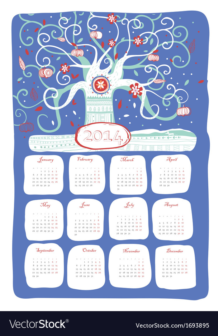 Calendar 2014 snow tree vector | Price: 1 Credit (USD $1)