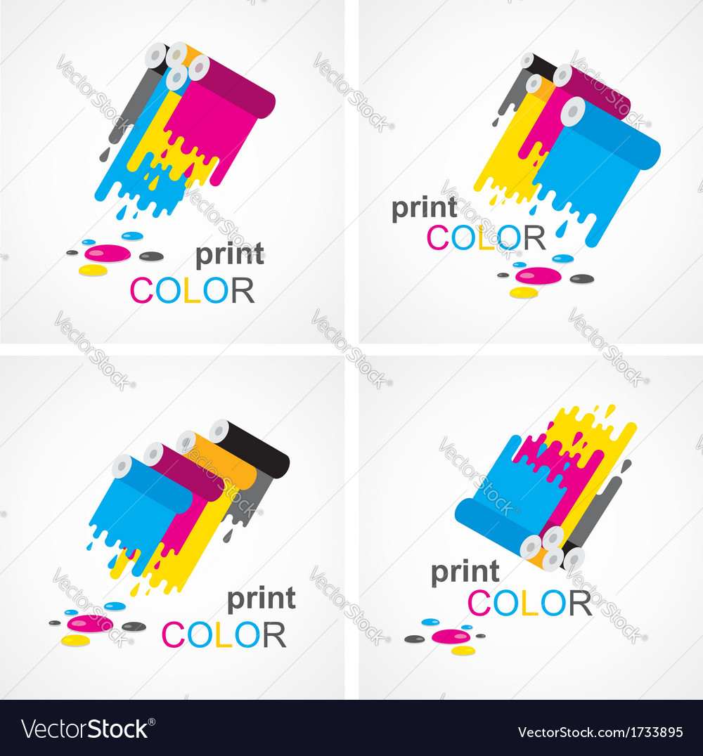 Cmyk print colored roll element set vector | Price: 1 Credit (USD $1)