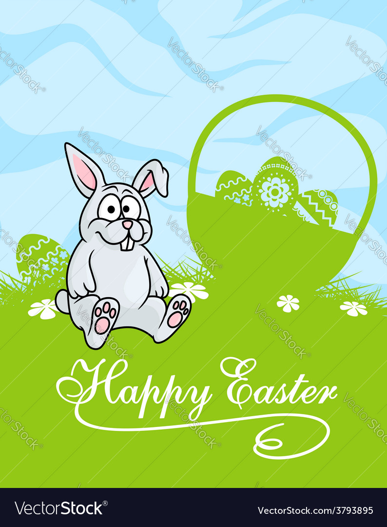 Cute little grey easter bunny vector   Price: 1 Credit (USD $1)