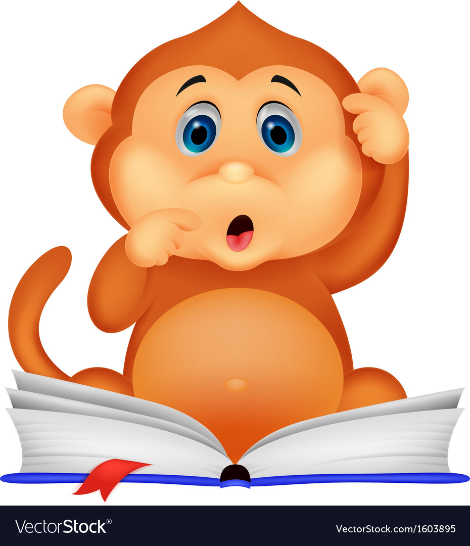 Cute monkey cartoon reading book vector | Price: 1 Credit (USD $1)