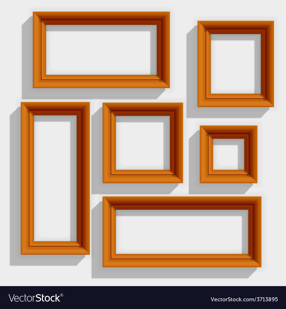 Empty wooden brown picture frames isolated on the vector | Price: 1 Credit (USD $1)
