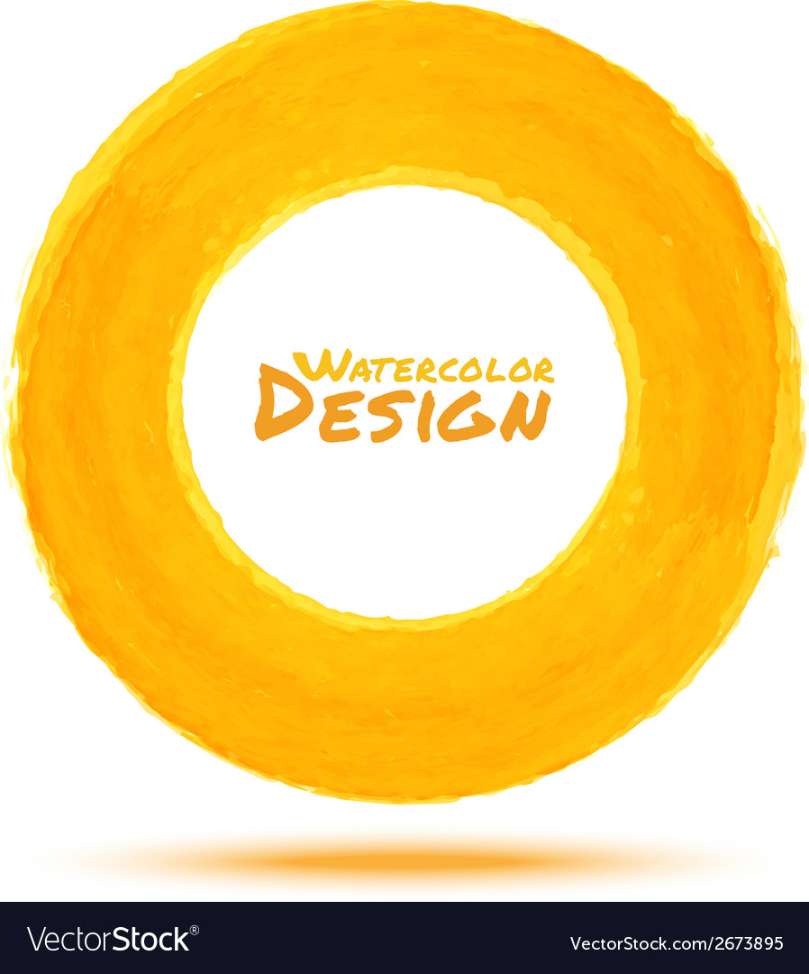 Hand drawn watercolor yellow circle design element vector | Price: 1 Credit (USD $1)