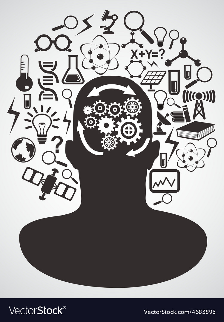 Head with science icons set vector