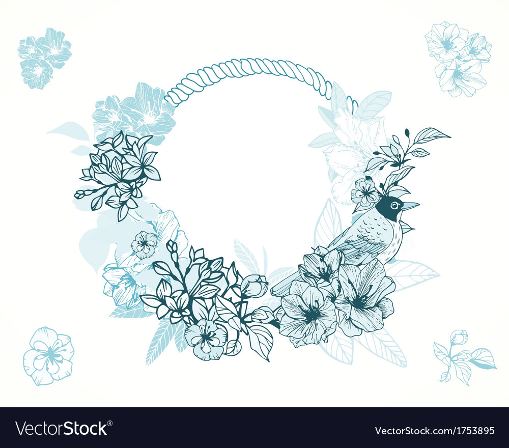 Pastel romantic floral frame vector | Price: 1 Credit (USD $1)