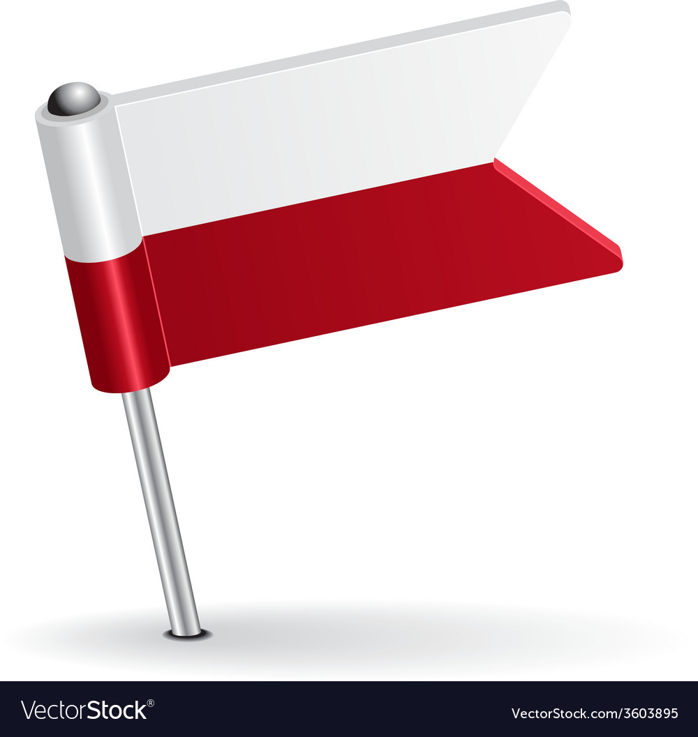 Polish pin icon flag vector | Price: 1 Credit (USD $1)