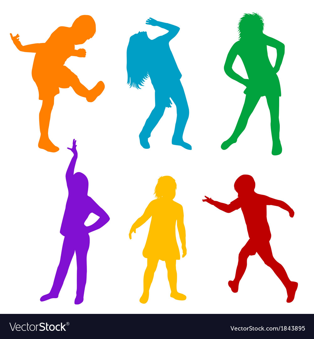 Set of colored silhouettes of children playing vector   Price: 1 Credit (USD $1)