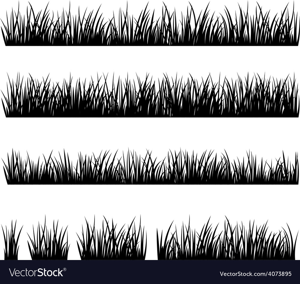 Set of silhouette of grass isolated on white backg vector | Price: 1 Credit (USD $1)