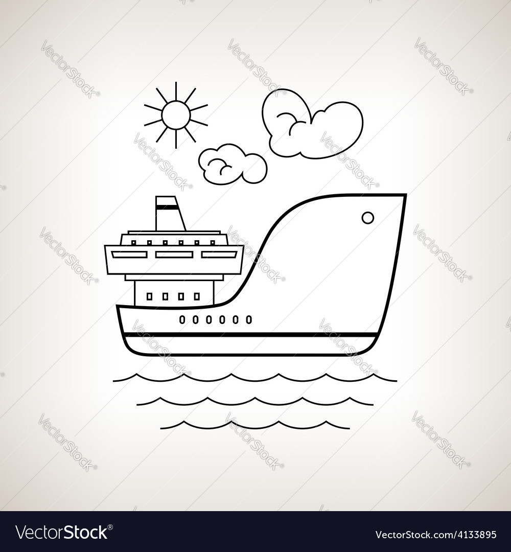 Silhouette cargo ship on a light background vector | Price: 1 Credit (USD $1)