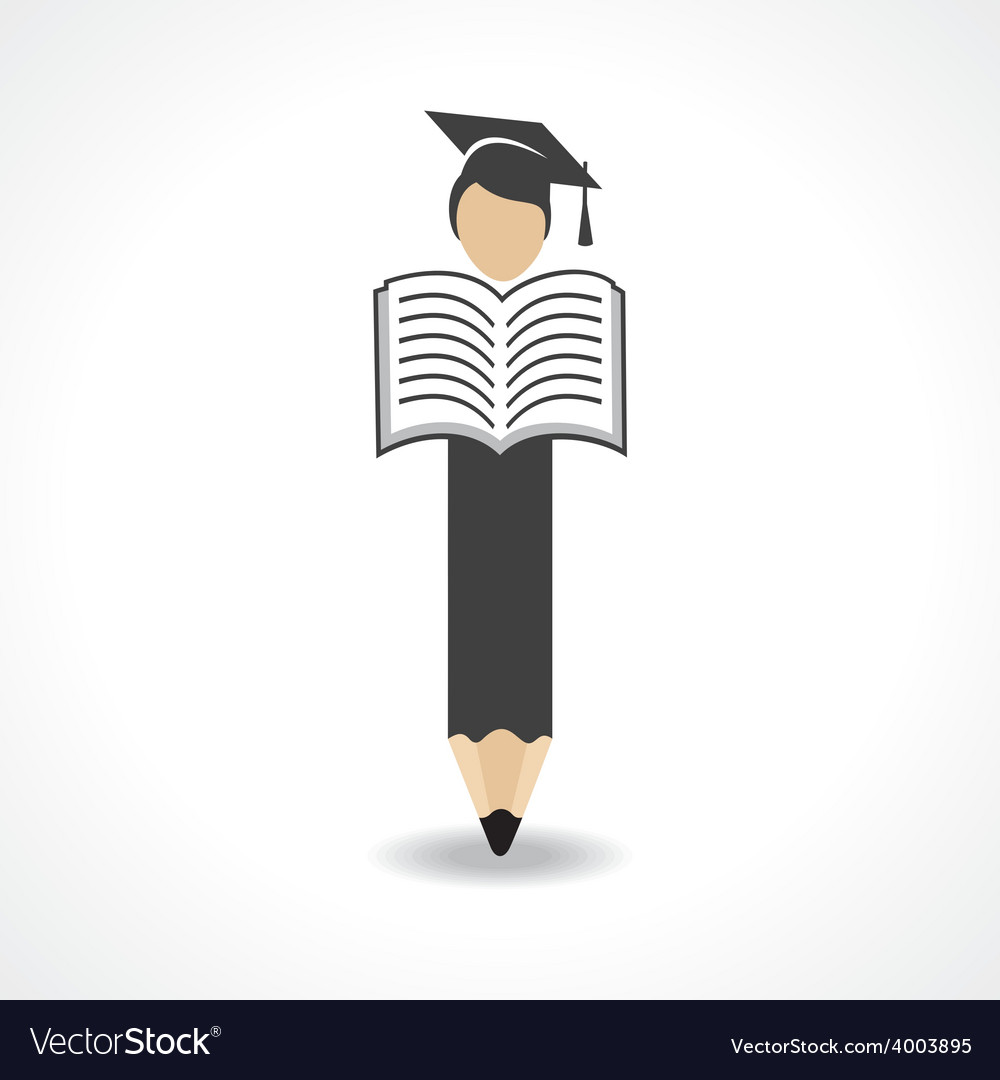 Student design with pencil and wear graduation cap vector   Price: 1 Credit (USD $1)