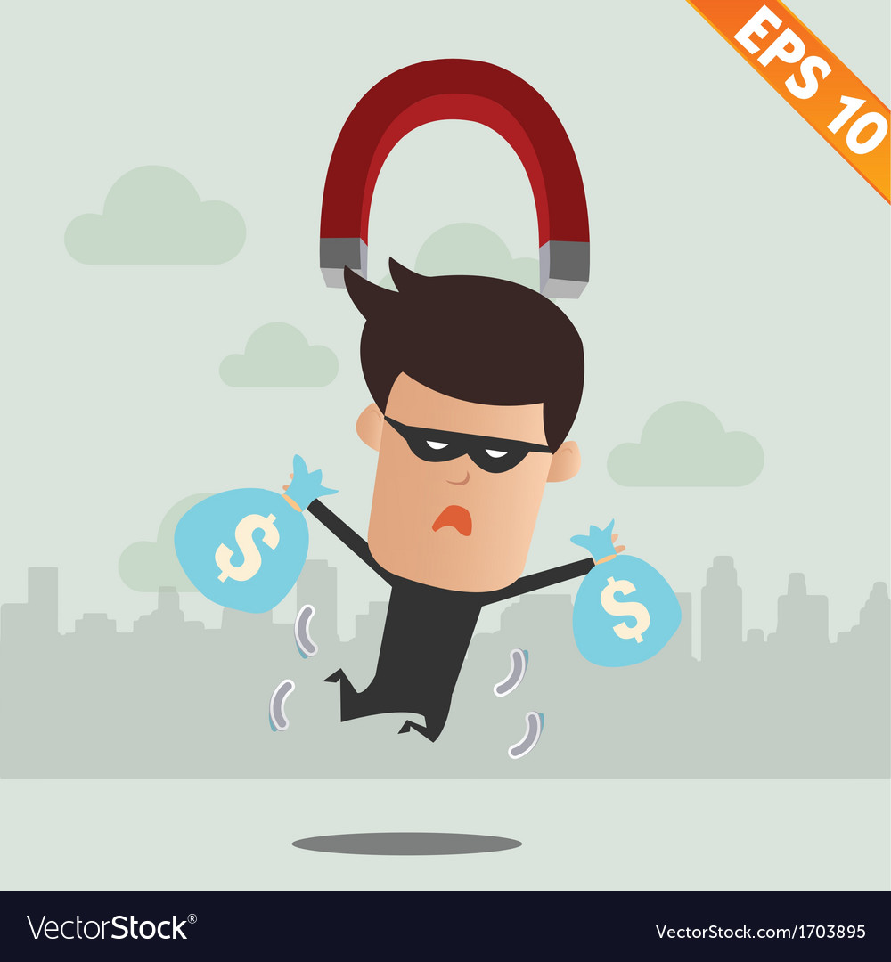Thief steal money - - eps10 vector | Price: 1 Credit (USD $1)
