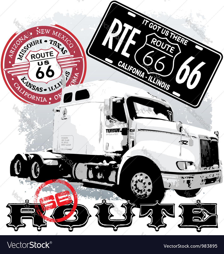 Truck route 66 vector | Price: 1 Credit (USD $1)