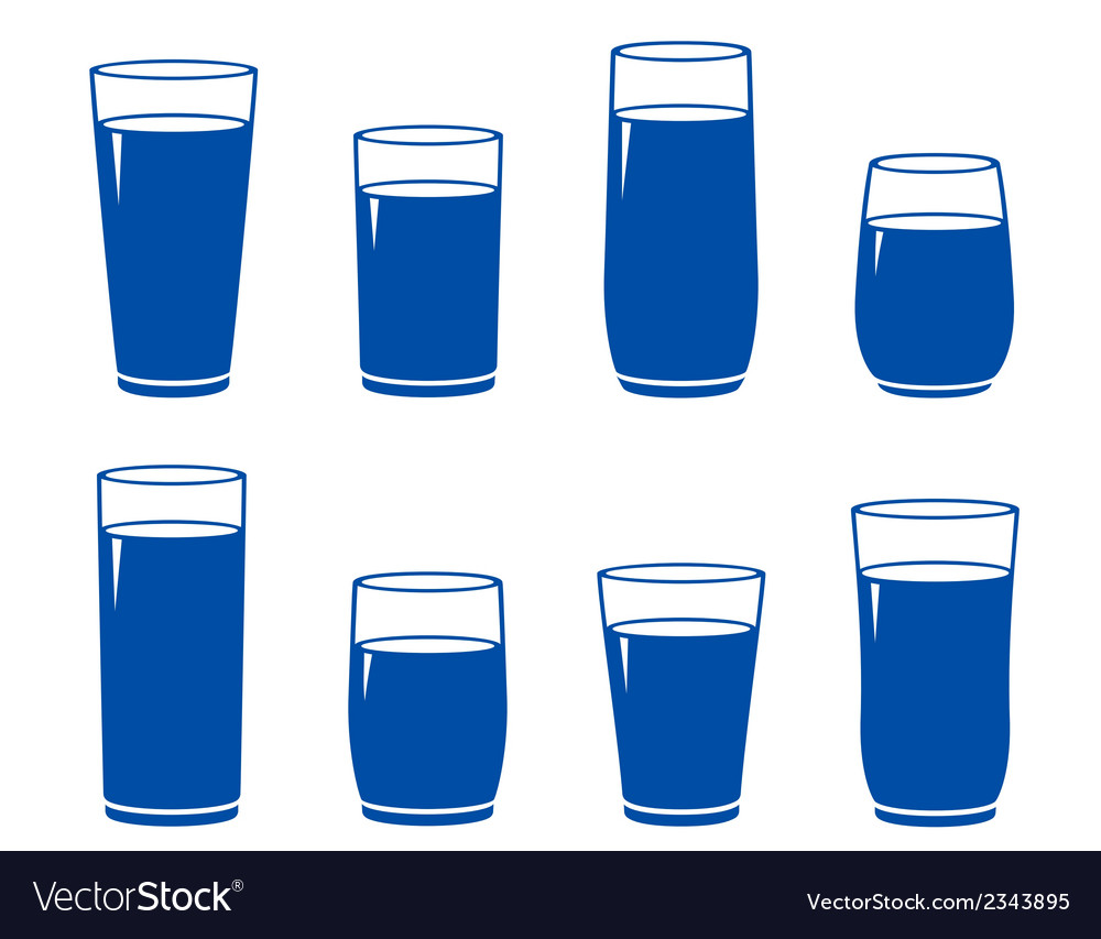Water glass set vector | Price: 1 Credit (USD $1)