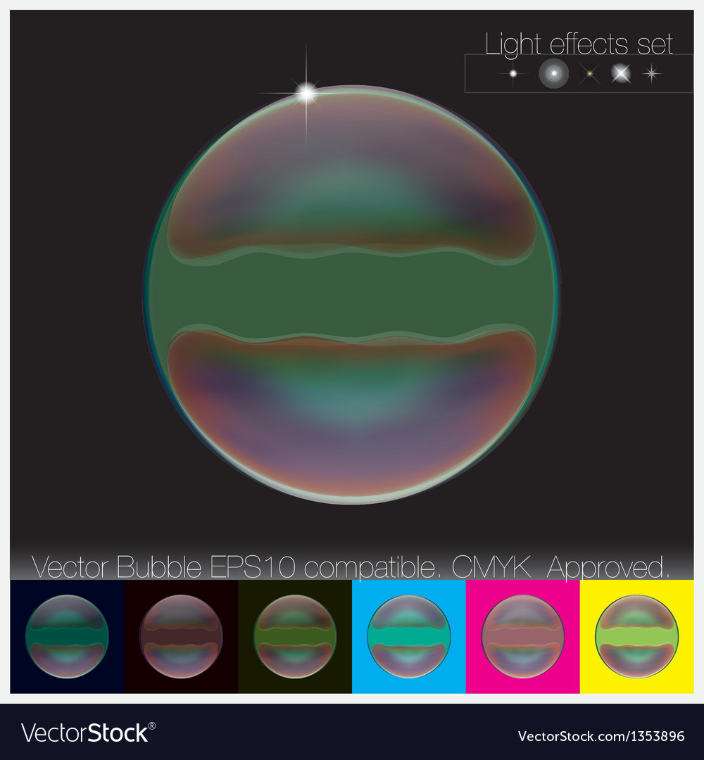 Colorful transparent soap bubble set vector | Price: 1 Credit (USD $1)