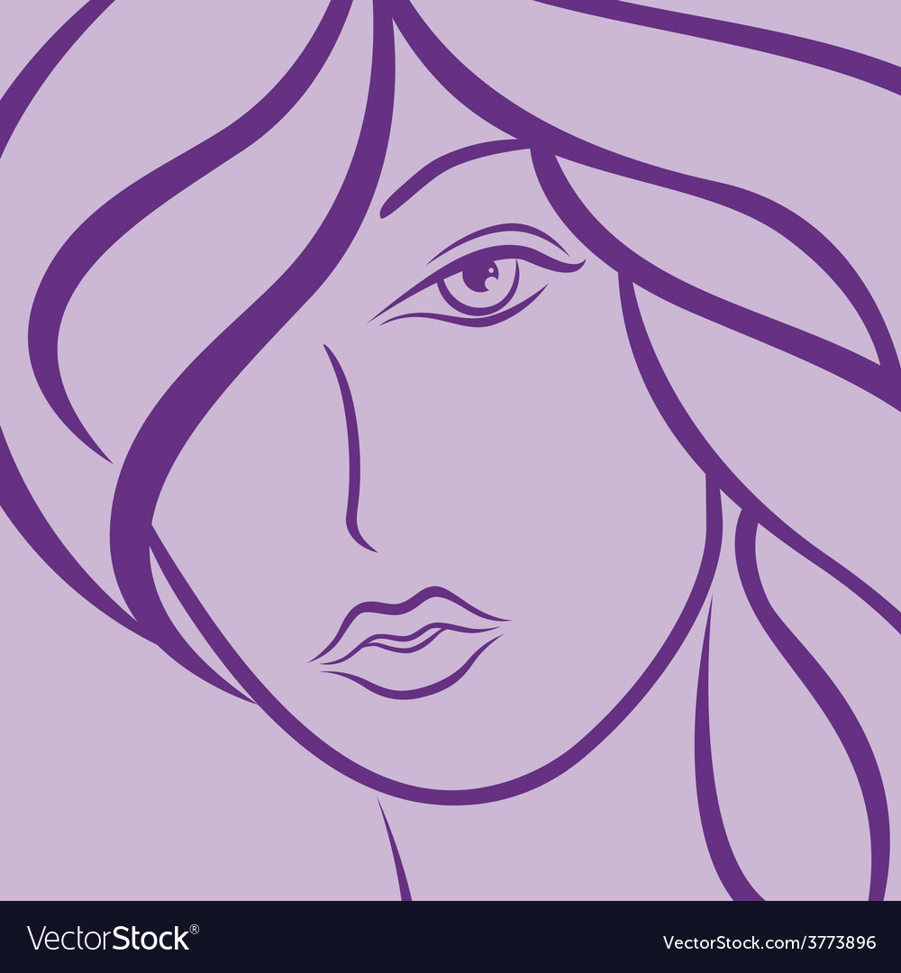Female laconic heads outline in violet vector | Price: 1 Credit (USD $1)