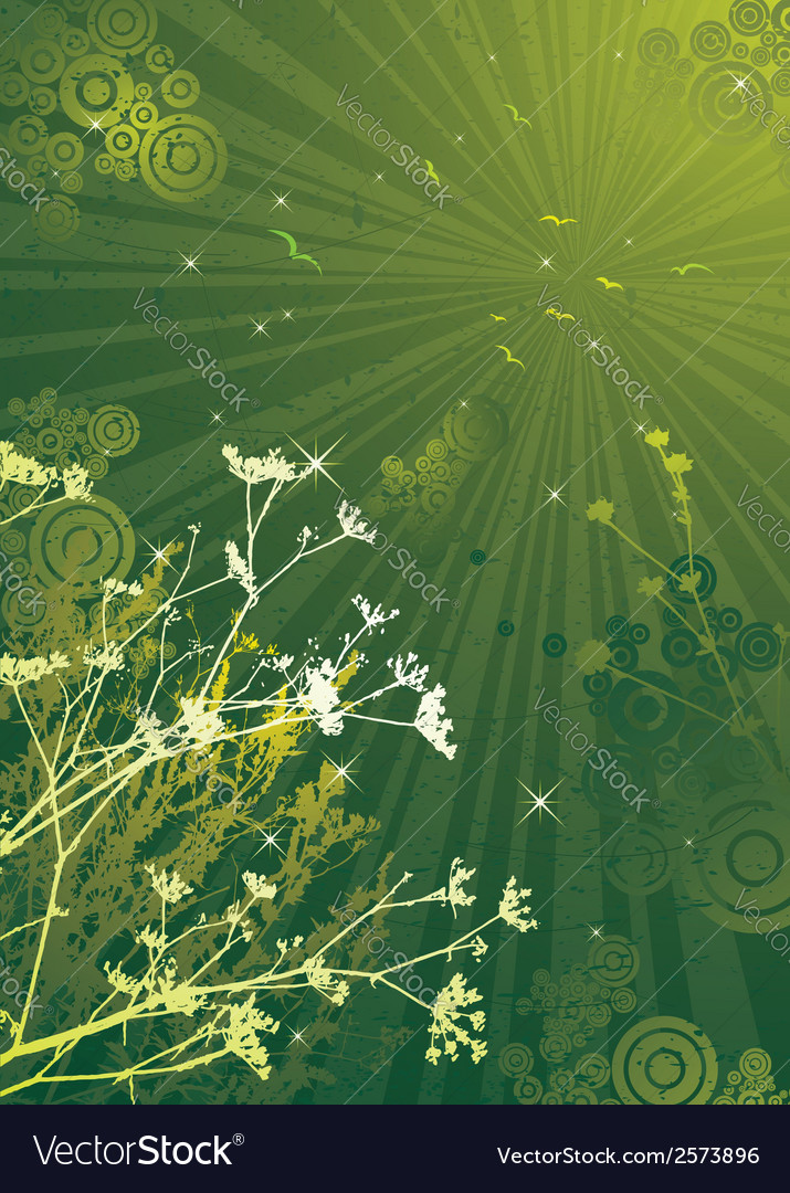 Few silhouettes of plants over green grunge backgr vector   Price: 1 Credit (USD $1)