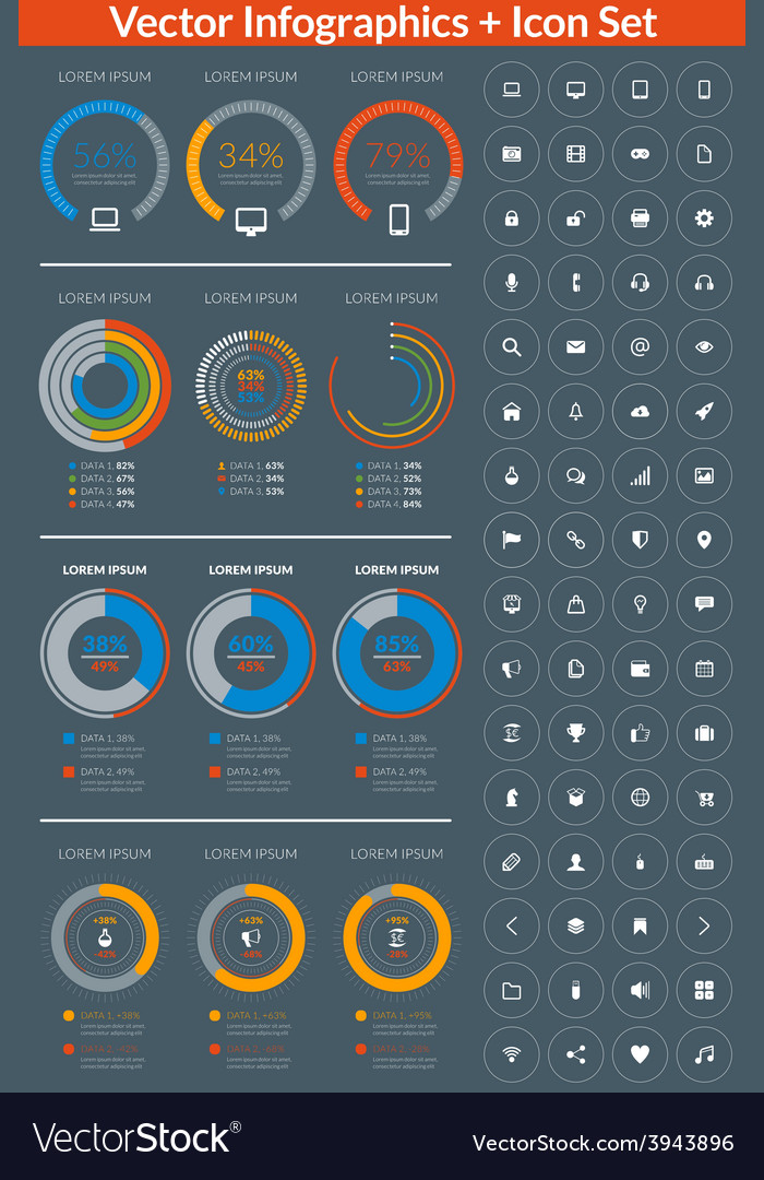 Flat style infographics and design elements with vector | Price: 1 Credit (USD $1)