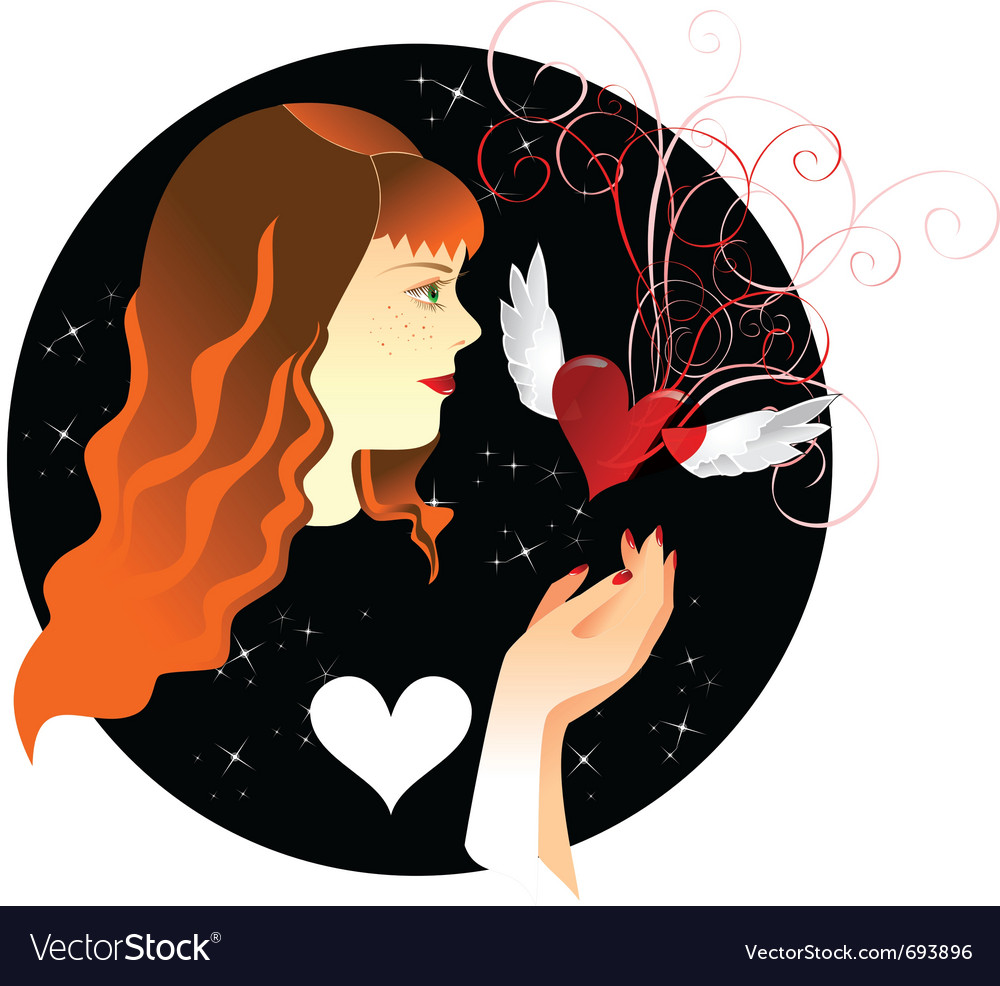 Ginger girl and heart vector | Price: 1 Credit (USD $1)
