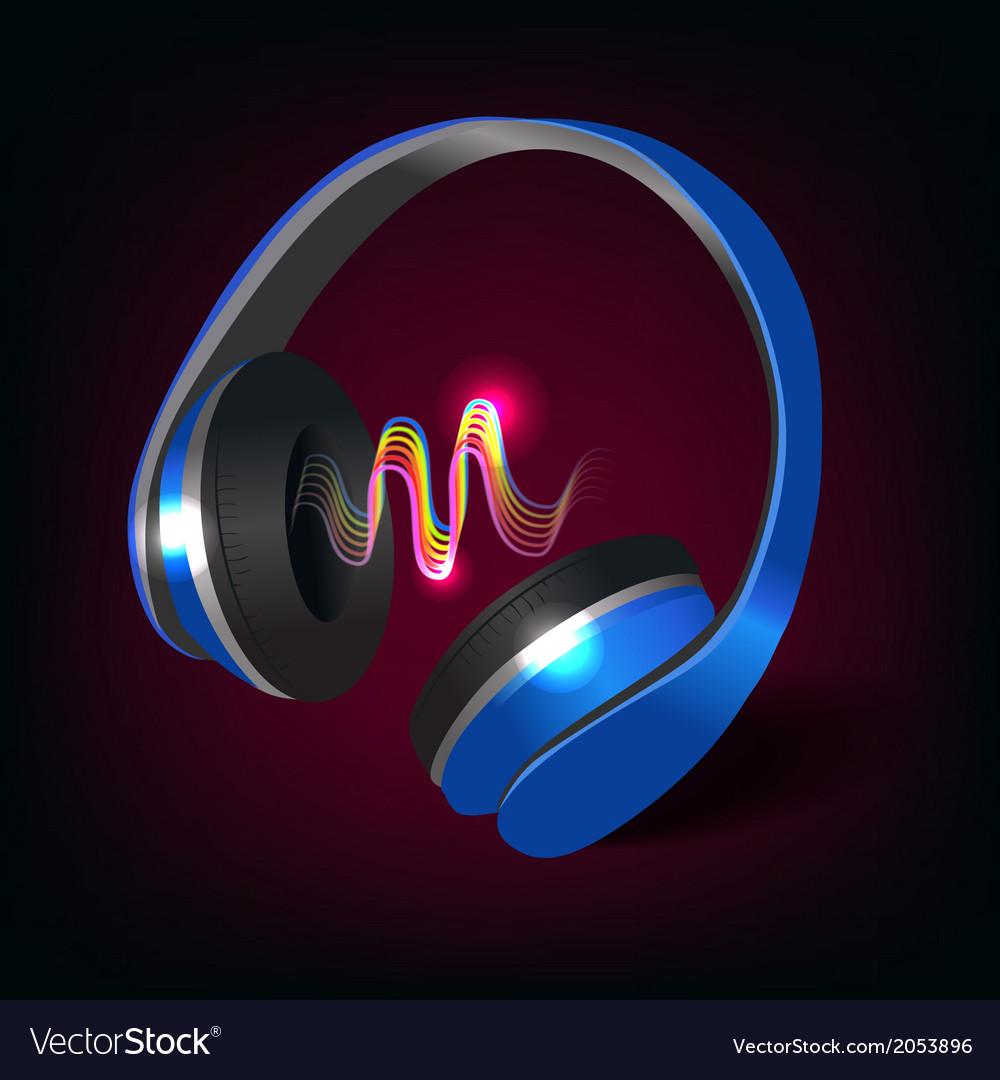 Headphones dark background vector | Price: 1 Credit (USD $1)