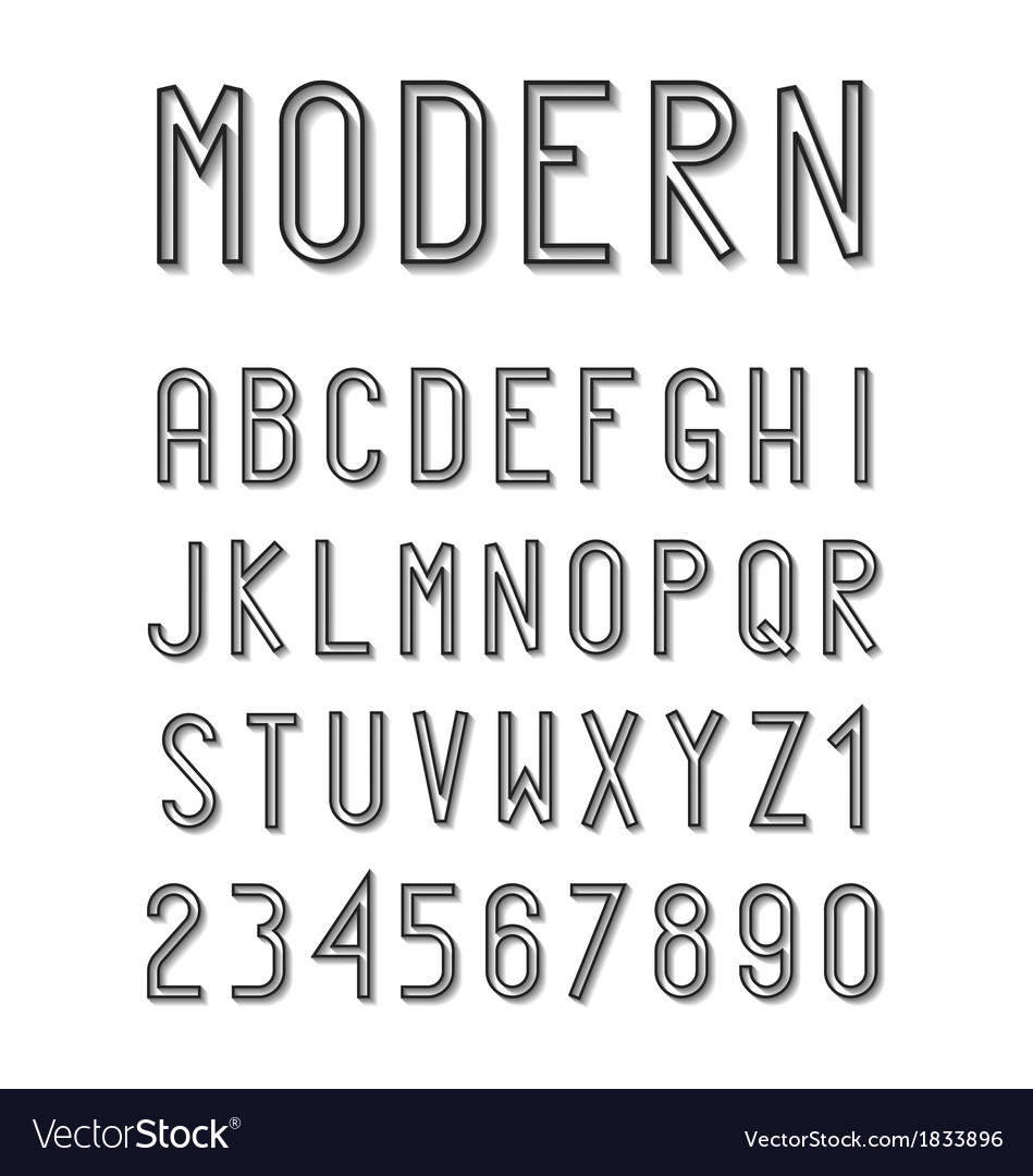 Modern font set vector | Price: 1 Credit (USD $1)