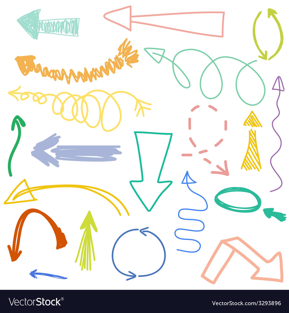 Set of hand drawn arrows vector | Price: 1 Credit (USD $1)