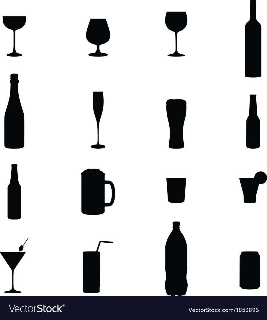 Set of sixteen drink black silhouettes vector | Price: 1 Credit (USD $1)