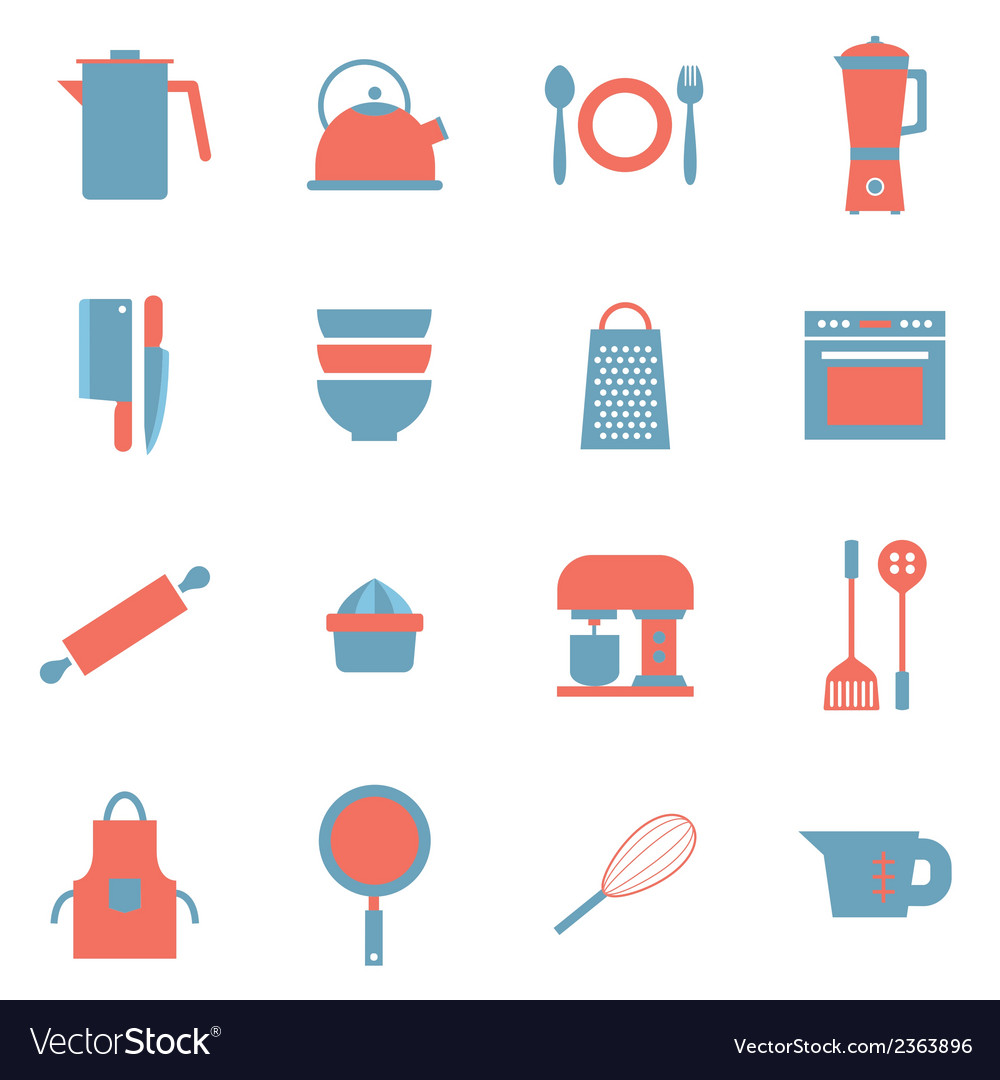 Utensils icons set 16 vector | Price: 1 Credit (USD $1)
