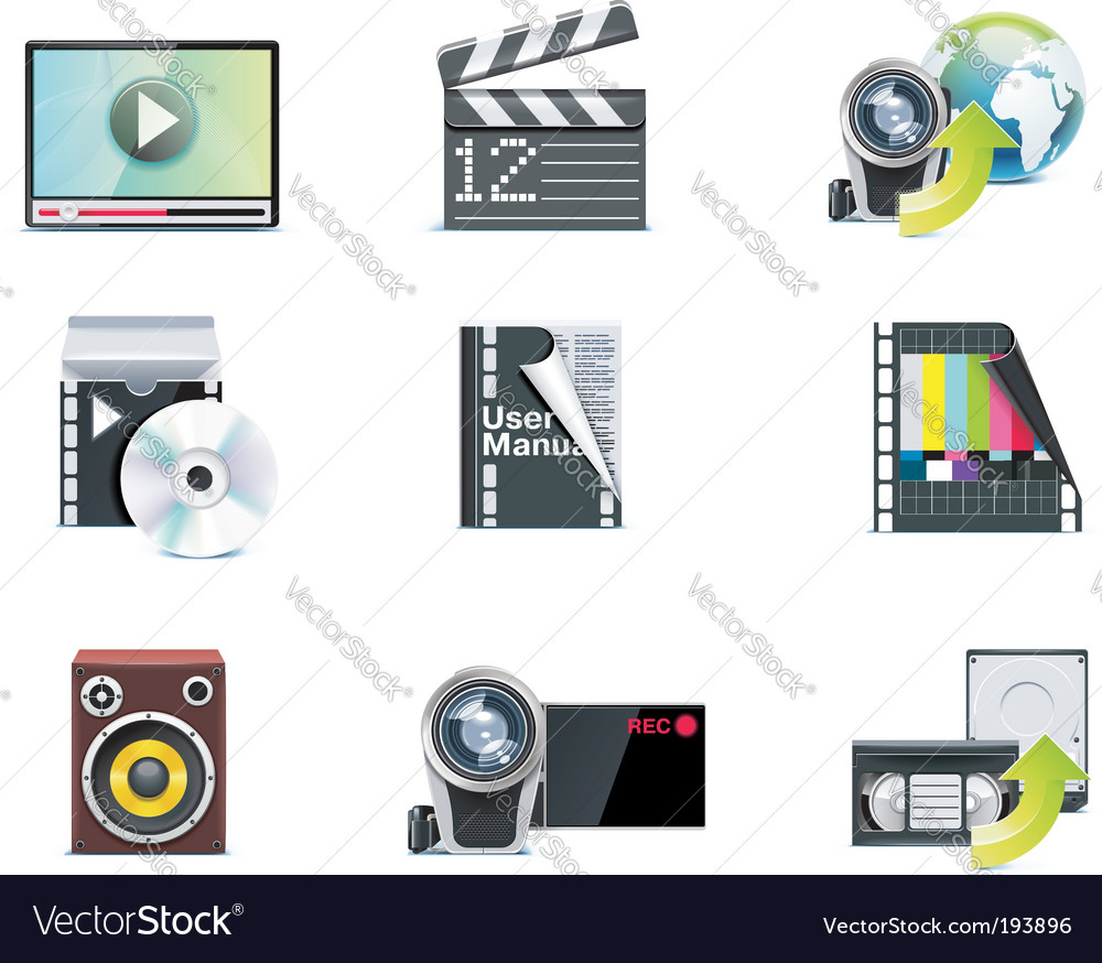 Video icons vector | Price: 3 Credit (USD $3)