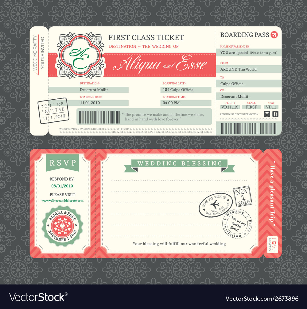 Vintage boarding pass ticket wedding invitation vector | Price: 1 Credit (USD $1)