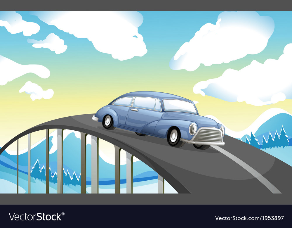 A car at the road vector | Price: 1 Credit (USD $1)